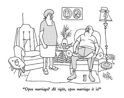 Open Marriage?  All Right Art Print by George Price
