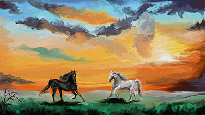 Stallion Painting - Open Range by Sandra Aguirre