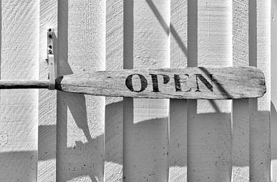 Photograph - Open Sign Made From A Wooden Oar Marshall Point Port Clyde Maine by Marianne Campolongo