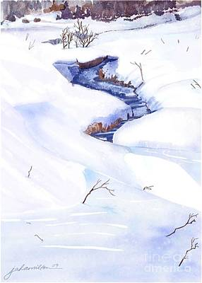 Painting - Open Stream In Winter by Joan A Hamilton