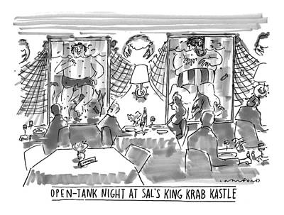 'open-tank Night At Sal's King Krab Kastle' Art Print by Michael Crawford