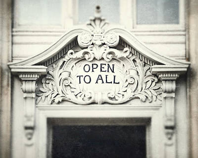 New To Vintage Photograph - Open To All by Lisa Russo