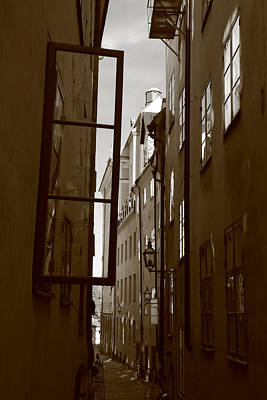 Open Window In Gamla Stan - Sepia Art Print by Ulrich Kunst And Bettina Scheidulin