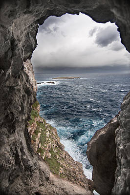 A Natural Window In Minorca North Coast Discover Us An Impressive View Of Sea And Sky - Open Window Art Print by Pedro Cardona