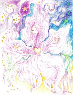 Drawing - Opening And Blossoming   Dreaming The World Into Being   As She Dances In The Stars by Lydia Erickson
