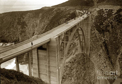 Photograph - Opening Day Of Bixby Creek Bridge Big Sur California 1932 by California Views Mr Pat Hathaway Archives