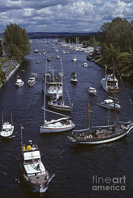 Photograph - Opening Day Of Boating Traffic Jam On Montlake Cut by Jim Corwin