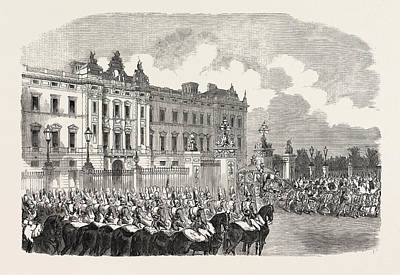 Buckingham Palace Drawing - Opening Of Parliament Her Majesty Leaving Buckingham Palace by English School
