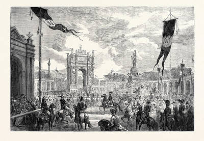 Eugene Drawing - Opening Of The Boulevard Du Prince Eugene At Paris by English School
