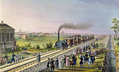 Inauguration Drawing - Opening Of The First Railway Line From Tsarskoe Selo To Pavlovsk In 1837 by Russian School