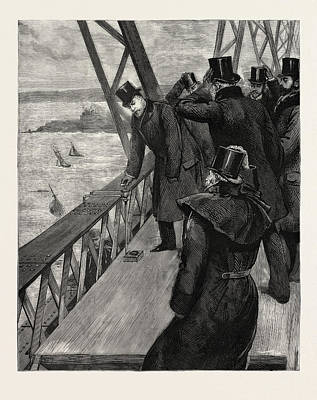 Rivets Drawing - Opening Of The Forth Bridge, The Prince Clinching The Last by English School