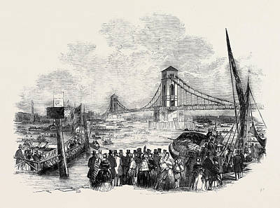 Suspension Drawing - Opening Of The Hungerford Suspension Bridge by English School