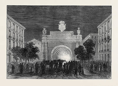 Opening Of The Mont Cenis Tunnel Illuminations At Turin Art Print by English School