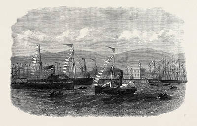 Dock Drawing - Opening Of The New Graving-dock At Belfast By The Lord by Irish School