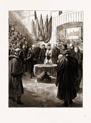 Prayer Drawing - Opening Of The New Merchant Taylors Schools By The Prince by Litz Collection