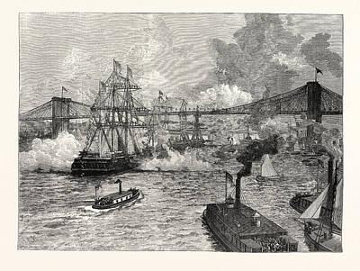 Brooklyn Bridge Drawing - Opening Of The New York And Brooklyn Suspension Bridge by American School