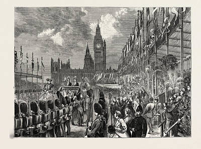 Victoria Embankment Drawing - Opening Of The Victoria Embankment By The Prince Of Wales by Welsh School