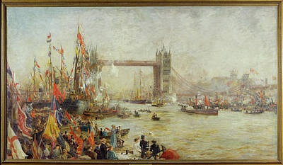 Ceremony Photograph - Opening Of Tower Bridge, 1894 Oil On Canvas by William Lionel Wyllie