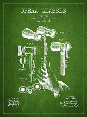 Opera Glasses Patent From 1888 - Green Art Print