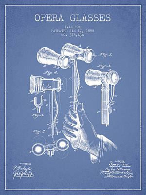 Opera Glasses Patent From 1888 - Light Blue Art Print