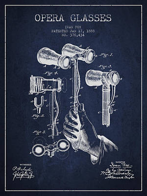 Opera Glasses Patent From 1888 - Navy Blue Art Print
