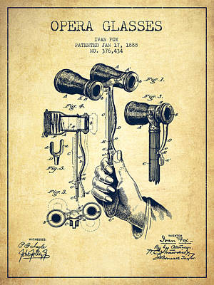 Opera Glasses Patent From 1888 - Vintage Art Print