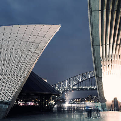 Opera House Photograph - Opera House Roof And Harbour Bridge At Night Sydney Australia by Matteo Colombo