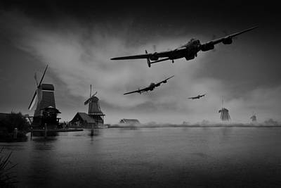 Digital Art - Operation Chastise First Wave Black And White Version by Gary Eason
