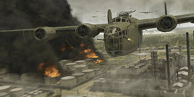 Wwii Digital Art - Operation Tidal Wave Head-on View by Robert Perry