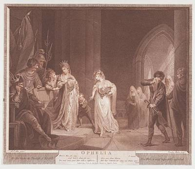 Stipple Drawing - Ophelia Shakespeare, Hamlet, Act 4 by Caroline Watson
