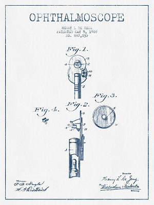 Ophthalmoscope Patent From 1908 - Blue Ink Art Print by Aged Pixel