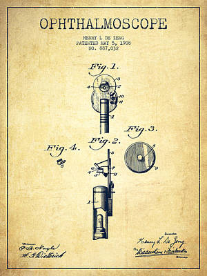 Ink Blue Digital Art - Ophthalmoscope Patent From 1908 - Vintage by Aged Pixel
