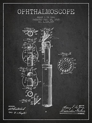 Ophthalmoscope Patent From 1915 - Dark Art Print by Aged Pixel