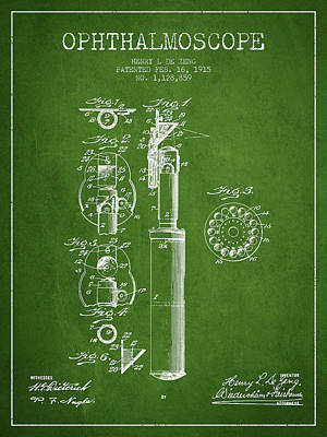 Ophthalmoscope Patent From 1915 - Green Art Print