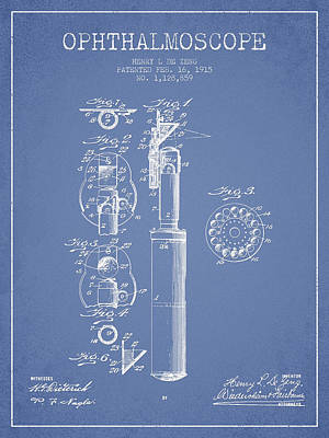 Ophthalmoscope Patent From 1915 - Light Blue Art Print