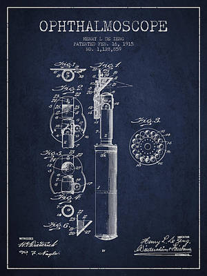 Ophthalmoscope Patent From 1915 - Navy Blue Art Print by Aged Pixel