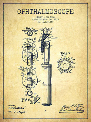 Doctor Digital Art - Ophthalmoscope Patent From 1915 - Vintage by Aged Pixel