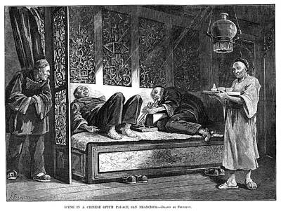 Addict Painting - Opium Den, 1880 by Granger