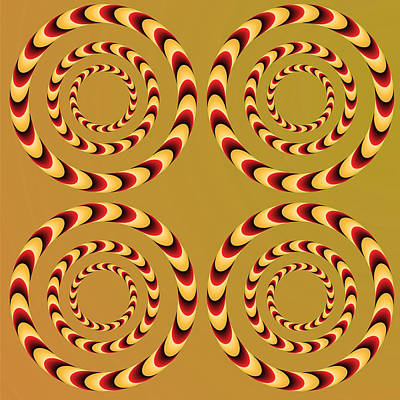 Optical Ilusions Summer Spin Art Print by Sumit Mehndiratta