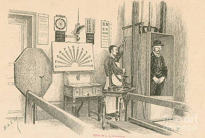 Eye Chart Photograph - Optical Testing Room, 1892 by Science Source