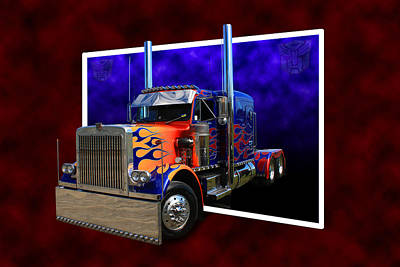 Print featuring the photograph Optimus Prime Peterbilt by Keith Hawley