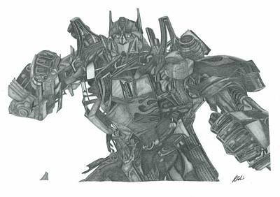 Transformer Drawing - Optimus Prime by Rich Colvin