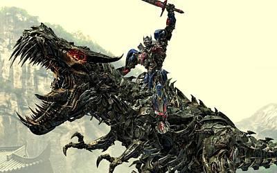 Optimus Digital Art - Optimus Prime Riding Grimlock by Movie Poster Prints