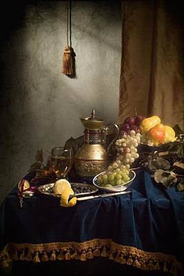Photograph - Opulent Still Life With Gilded Jug-silverware And Fruits by Levin Rodriguez