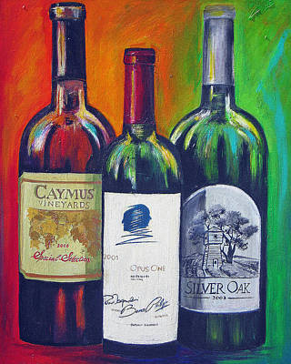 Wine-bottle Painting - Opus One Caymus And  Silver Oak by Sheri  Chakamian