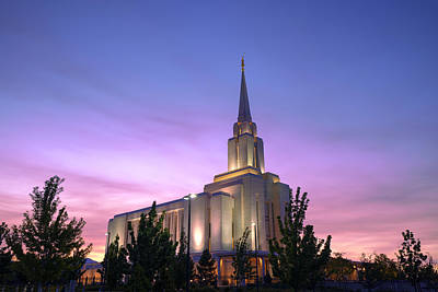 Utah Temple Photograph - Oquirrh Mountain Temple Iv by Chad Dutson