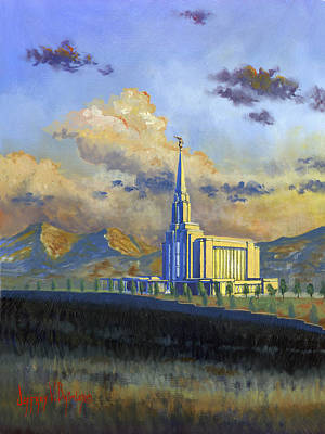 Painting - Oquirrh Mountain Temple by Jeff Brimley