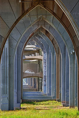 Or, Newport, Yaquina Bay Bridge, Arches Art Print by Jamie and Judy Wild