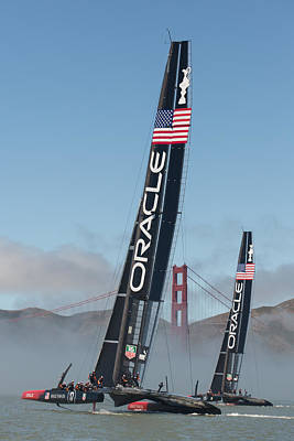 Alcatraz Photograph - Oracle Team Usa - 1 by Gilles Martin-Raget