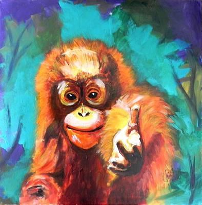 Colourfull Painting - Orang Utan by Jolanta Shiloni